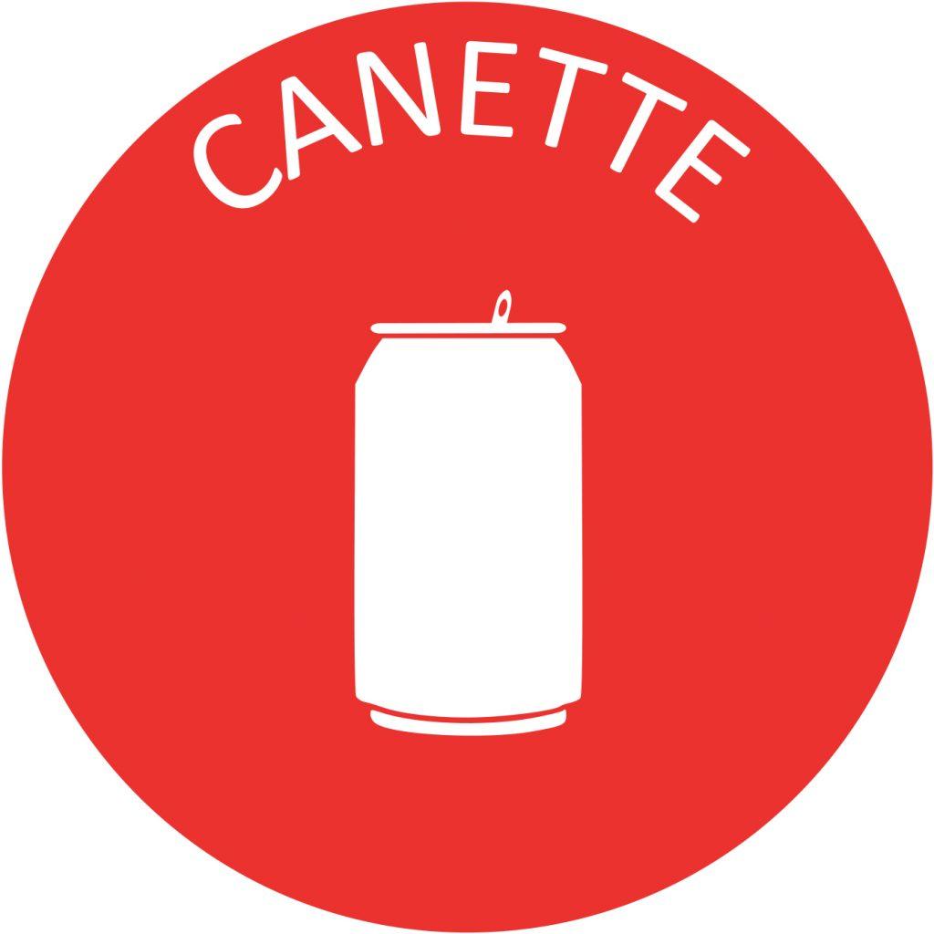 Macaron Recyclage canette plastique tri selectif poubelle entreprise